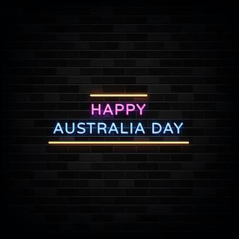 Insegna al neon felice giorno dell'australia