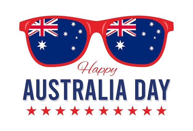 Happy australia day, occhiali da sole con bandiera dell'australia