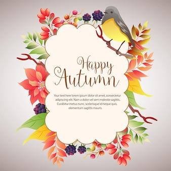 Fogliame felice della nuvola di autunno con il canto degli uccelli