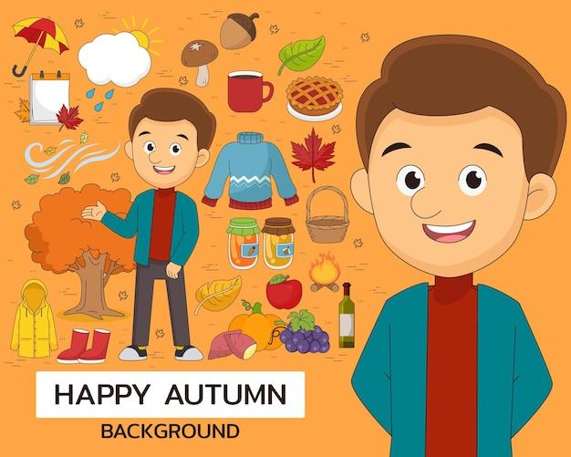 Fondo felice di concetto di autunno. icone piatte.
