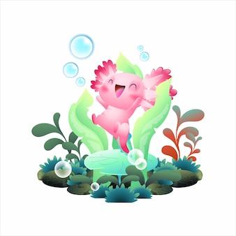 Felice illustrazione vettoriale axolotl, carina salamandra rosa