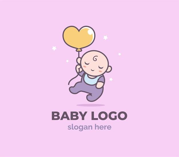 Modello di logo del negozio di palloncini per bambini felice