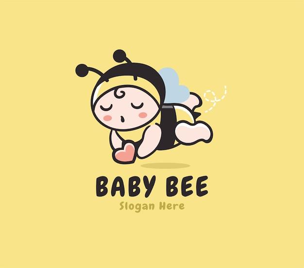 Modello di logo del negozio di ape bambino felice