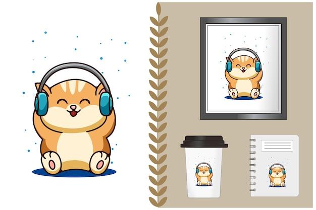 Illustrazione di cartone animato gatto bambino felice
