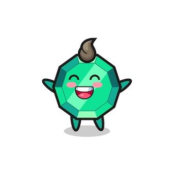 Personaggio dei cartoni animati con gemme di smeraldo bambino felice, design in stile carino per maglietta, adesivo, elemento logo