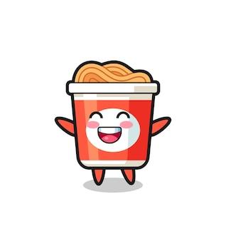 Personaggio dei cartoni animati di spaghetti istantanei per bambini felici, design in stile carino per maglietta, adesivo, elemento logo