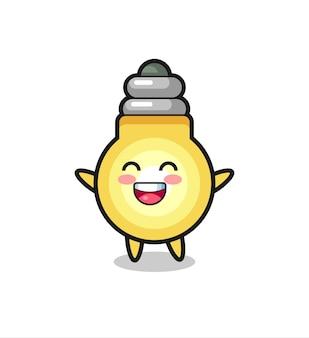 Personaggio dei cartoni animati della lampadina felice del bambino, design in stile carino per maglietta, adesivo, elemento logo
