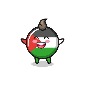 Happy baby palestina bandiera distintivo personaggio dei cartoni animati, design in stile carino per t-shirt, adesivo, elemento logo