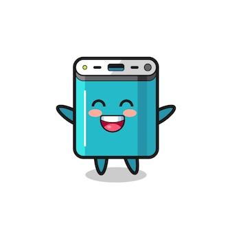Personaggio dei cartoni animati della banca di potere del bambino felice, design in stile carino per t-shirt, adesivo, elemento logo