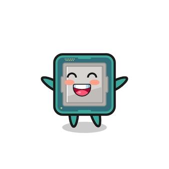 Personaggio dei cartoni animati del processore bambino felice, design in stile carino per maglietta, adesivo, elemento logo