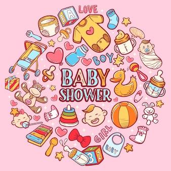 Icona di felice baby doccia con sfondo lettering