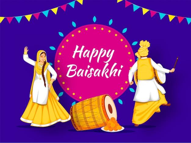 Felice baisakhi festival con punjabi couple dancing, strumento tradizionale e dolce.