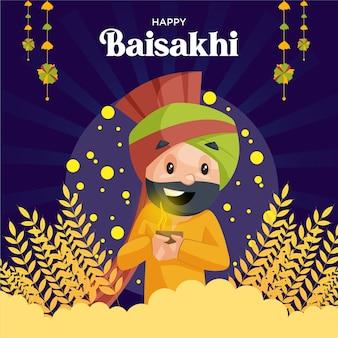Felice design biglietto di auguri baisakhi con uomo punjabi che tiene la lampada in mano