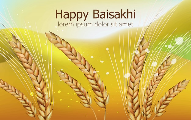 Baisakhi felice con la spezia del grano e il fondo vago variopinto