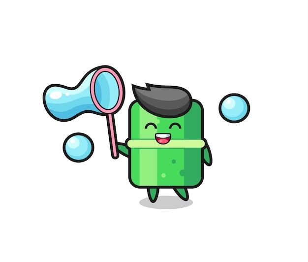 Fumetto di bambù felice che gioca bolla di sapone, design in stile carino per t-shirt, adesivo, elemento logo