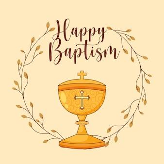 Scheda di battesimo felice con cartone animato pisside. illustrazione vettoriale