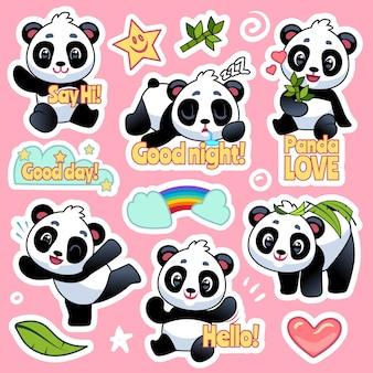 Espressione di orsi felici per il design di patch emoji, fantastici distintivi di animali asiatici per bambini personaggi di panda vettoriali con cuore e arcobaleno
