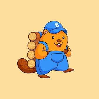 Felice castoro lavorando sodo che trasportano tronchi di legno attività animale illustrazione del profilo
