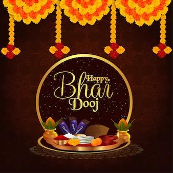 Felice sfondo bhai dooj con merigold e puja thali