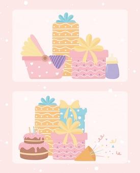 Carta della decorazione di celebrazione dei coriandoli della torta dei regali della doccia di buon compleanno e del bambino