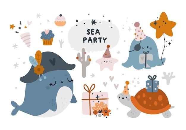 Buon compleanno o baby shower con simpatici elementi di design balena, polpo, tartaruga ed elementi festivi