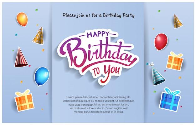 Sfondo, banner, poster, invito e auguri di buon compleanno