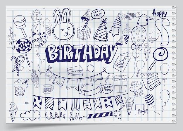 Sfondo di buon compleanno. set di compleanno disegnati a mano, scoppi per feste, cappelli da festa, scatole regalo e fiocchi, ghirlande e palloncini e fuochi d'artificio, candele sulla torta di compleanno.