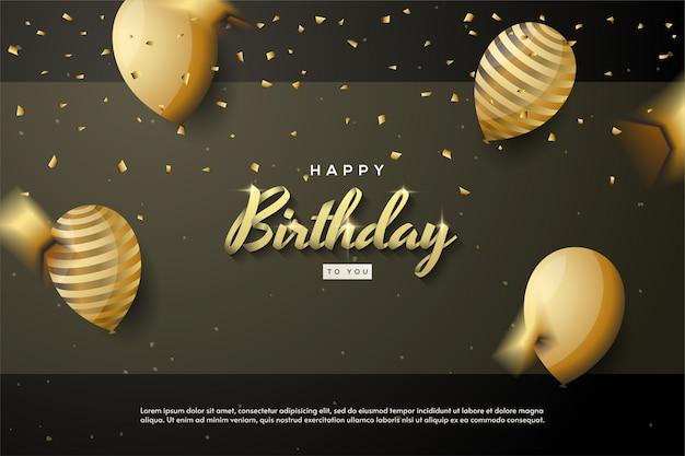 Priorità bassa di buon compleanno con l'illustrazione dorata dell'aerostato 3d.