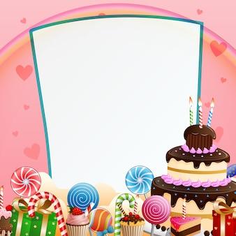 Sfondo di buon compleanno con torta e caramelle