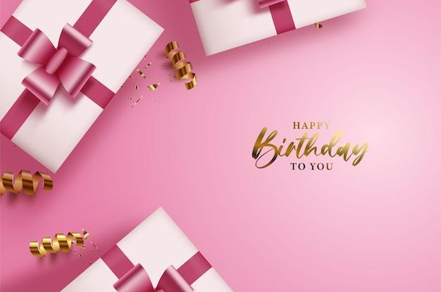 Sfondo di buon compleanno con confezione regalo e nastro