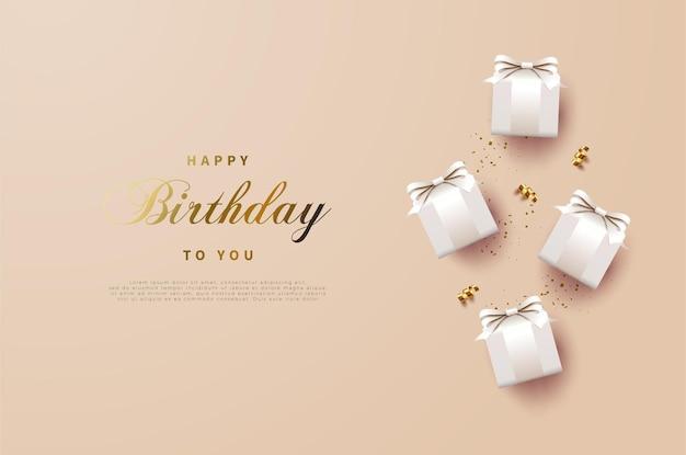 Sfondo di buon compleanno con una confezione regalo a destra dello sfondo.