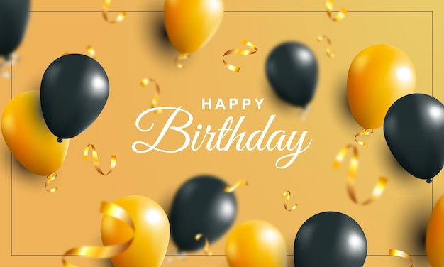Sfondo di buon compleanno con palloncini oro e neri