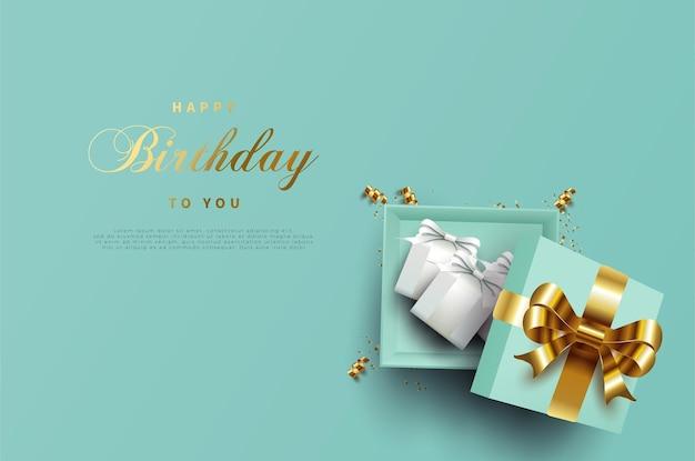Sfondo di buon compleanno con una confezione regalo aperta