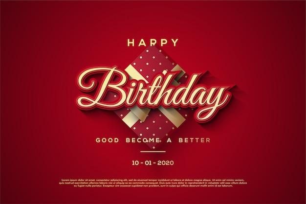 Fondo di buon compleanno con le illustrazioni rosse del contenitore di regalo 3d.