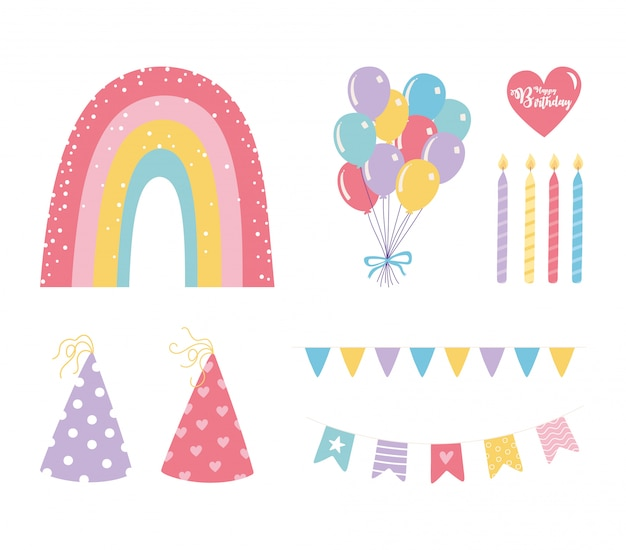 Buon compleanno, palloncini candele cappelli arcobaleno decorazione celebrazione festa set di icone festive