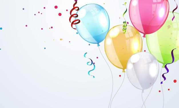 Buon compleanno palloncini sfondo colorato cornice celebrazione con coriandoli.