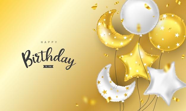 Cartolina d'auguri variopinta di buon compleanno palloncini coriandoli