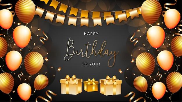 Banner di buon compleanno o palloncini di sfondo con scatola e nastro di lusso dorato