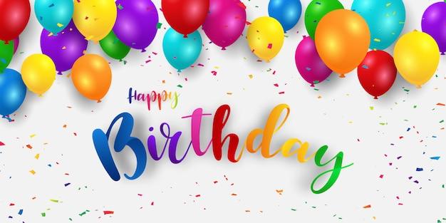 Banner di buon compleanno sfondo colorato celebrazione