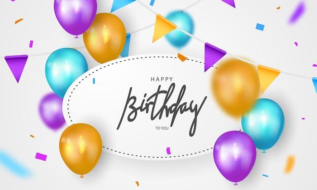 Banner di buon compleanno sfondo colorato celebrazione Vettore Premium