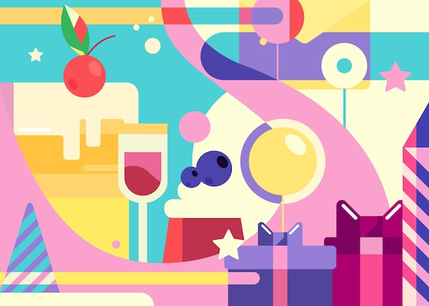 Banner di buon compleanno in stile piatto. disegno astratto della cartolina di festa.