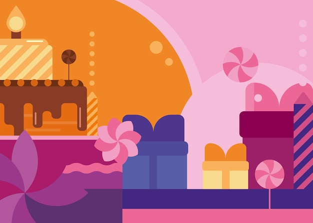 Banner di buon compleanno con torta e dolci. cartolina di vacanza design in stile piatto.