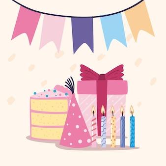 Banner di buon compleanno con decorazione