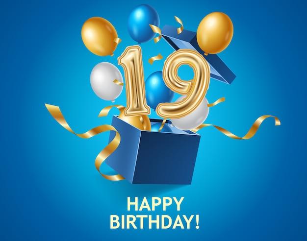 Banner di buon compleanno con scatola regalo, mongolfiere, nastri d'oro