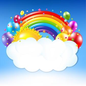 Banner di buon compleanno con arcobaleno con maglia gradiente illustrazione