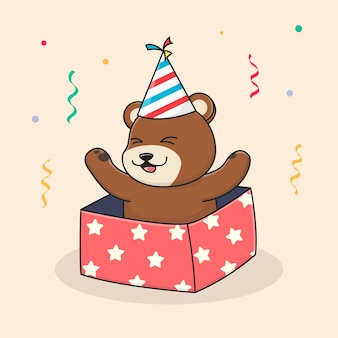 Orso di buon compleanno all'interno della scatola