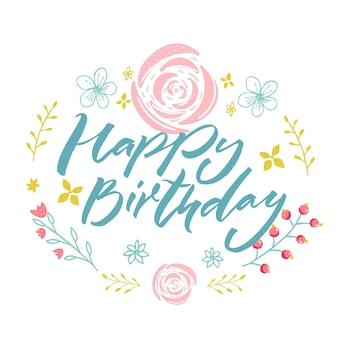 Buon compleanno - testo blu in ghirlanda floreale con fiori e rami rosa. modello di biglietto di auguri.