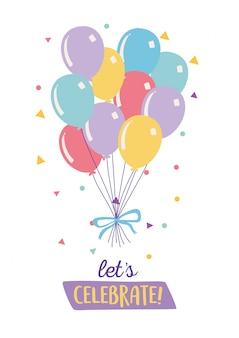 Buon compleanno, mazzo di palloncini coriandoli ornamento decorazione celebrazione festa