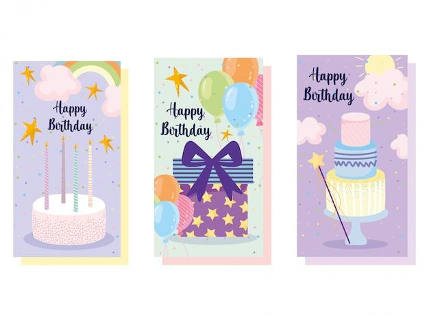 Bandiera di buon compleanno, palloncini torta e candele