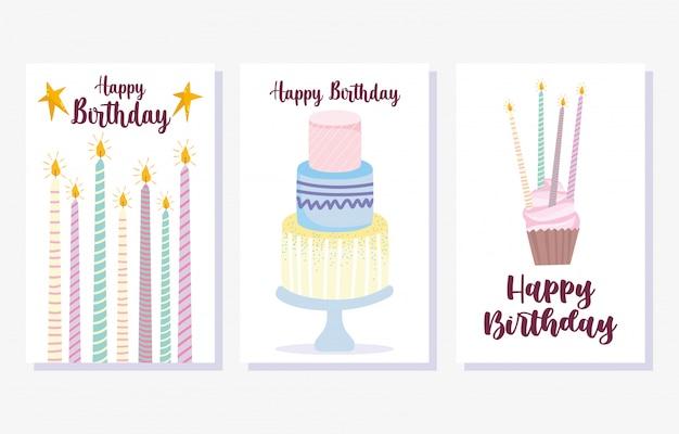 Buon compleanno, torta bruciando candele cupcake cartoon celebrazione decorazione carta